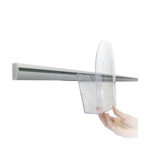 Porta folhetos de parede A6 com barra