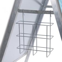 Cesta porta folhetos| para expositores de cavalete perfil 32 mm, 25 mm e COMPASSO