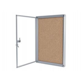 Vitrina con fondo de corcho con puerta giratoria